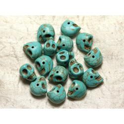 Fil 39cm 36pc env - Perles de Pierre Turquoise Synthèse Cranes tete de mort 14x10mm Bleu Turquoise