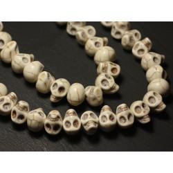 Fil 39cm 36pc env - Perles de Pierre Turquoise Synthèse Cranes tete de mort 14x10mm Blanc crème