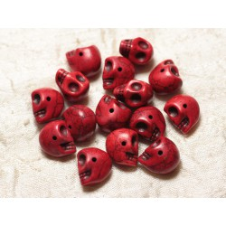 Fil 39cm 36pc env - Perles de Pierre Turquoise Synthèse Cranes tete de mort 14x10mm Rouge