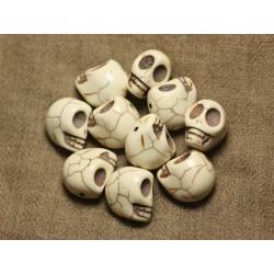 Fil 39cm 21pc env - Perles de Pierre Turquoise Synthèse Cranes tete de mort 18x14mm Blanc crème