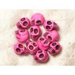 Fil 39cm 21pc env - Perles de Pierre Turquoise Synthèse Cranes tete de mort 18x14mm Rose Fluo