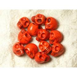 Fil 39cm 21pc env - Perles de Pierre Turquoise Synthèse Cranes tete de mort 18x14mm Orange