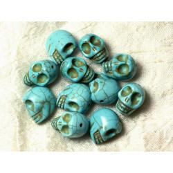 Fil 39cm 21pc env - Perles de Pierre Turquoise Synthèse Cranes tete de mort 18x14mm Bleu turquoise