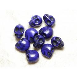 Fil 39cm 21pc env - Perles de Pierre Turquoise Synthèse Cranes tete de mort 18x14mm Bleu nuit
