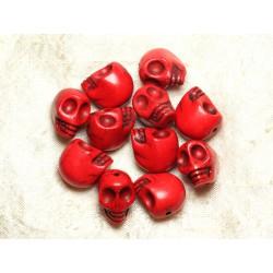 Fil 39cm 21pc env - Perles de Pierre Turquoise Synthèse Cranes tete de mort 18x14mm Rouge