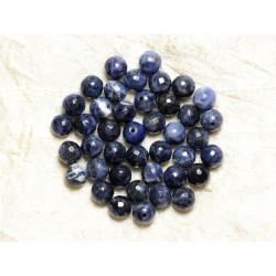 Fil 39cm 63pc env - Perles de Pierre - Sodalite Boules Facettées 6mm