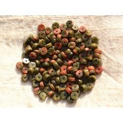 Fil 39cm 190pc env - Perles de Pierre - Unakite Rondelles Heishi 4x2mm