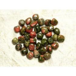 Fil 39cm 43pc env - Perles de Pierre - Unakite Nuggets Pierres roulées 8-10mm