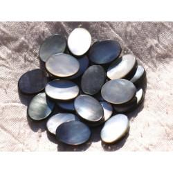 Fil 39cm 20pc env - Perles Nacre noire naturelle Ovales 18x12mm