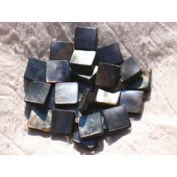 Fil 39cm 24pc env - Perles Nacre noire naturelle Losanges 16x12mm