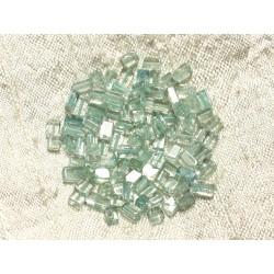 Fil 40cm 95pc env - Perles de Pierre - Aigue Marine Cubes 3-5mm