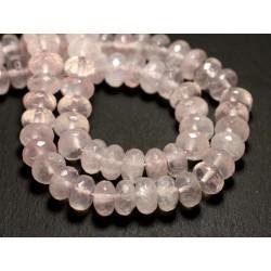 Fil 39cm 61pc env - Perles de Pierre - Quartz Rose Rondelles Facettées 10x6mm