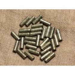 Fil 39cm 29pc env - Perles de Pierre - Pyrite Tubes 13x4mm