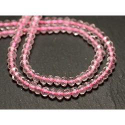 Fil 39cm 128pc env - Perles de Pierre - Quartz Rose Rondelles Facettées 4x3mm