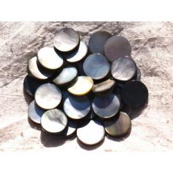 Fil 39cm 25pc env - Perles Nacre noire naturelle Palets 15mm