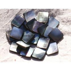 Fil 39cm 20pc env - Perles Nacre noire naturelle Losanges 19x15mm