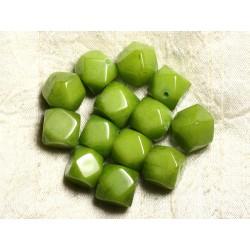Fil 39cm 25pc env - Perles de Pierre - Jade Cubes Facettés 14-15mm Vert