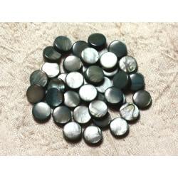 Fil 39cm 35pc env - Perles Nacre Palets 9-10mm gris noir