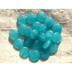 Fil 39cm 31pc env - Perles de Pierre - Jade Palets 12mm Bleu Turquoise