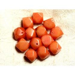 Fil 39cm 25pc env - Perles de Pierre - Jade Cubes Facettés 14-15mm Orange