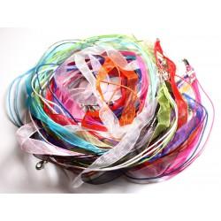 100pc - Colliers Tours de Cou 47cm Coton et Tissu Organza 10mm Multicolore