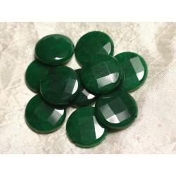 Fil 39cm 15pc env - Perles de Pierre - Jade grands Palets Facettés 25mm Vert sapin