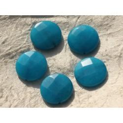 Fil 39cm 15pc env - Perles de Pierre - Jade grands Palets Facettés 25mm Bleu Turquoise