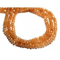 Fil 39cm 140pc env - Perles de Pierre - Jade Rondelles Facettées 4x2mm Orange Pastel