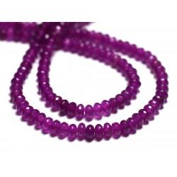 Fil 39cm 140pc env - Perles de Pierre - Jade Rondelles Facettées 4x2mm Violet Rose Fuchsia Magenta