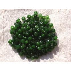 Fil 39cm 140pc env - Perles de Pierre - Jade Rondelles Facettées 4x2mm Vert Olive