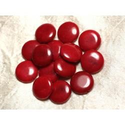 Fil 39cm 20pc env - Perles de Pierre - Jade Palets 18mm Rouge