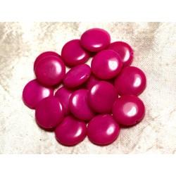 Fil 39cm 20pc env - Perles de Pierre - Jade Palets 18mm Rose Fuchsia