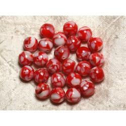 Fil 39cm 37pc env - Perles Nacre et résine Boules 10mm Rouge et Blanc