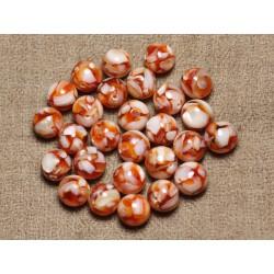 Fil 39cm 37pc env - Perles Nacre et résine Boules 10mm Orange et Blanc