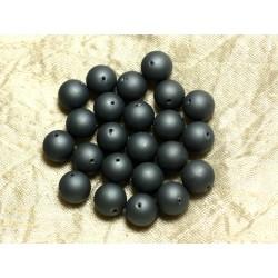 Fil 39cm 37pc env - Perles Nacre Boules 10mm Gris noir mat givré