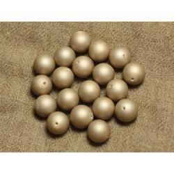 Fil 39cm 37pc env - Perles Nacre Boules 10mm Beige mat givré