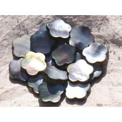 Fil 39cm 20pc env - Perles Nacre noire naturelle Fleurs 18mm