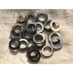 Fil 39cm 25pc env - Perles Nacre noire naturelle Cercles Donuts 15mm