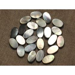 Fil 39cm 31pc env - Perles Nacre noire naturelle Ovales 12x8mm