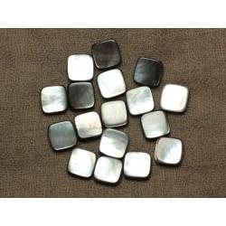 Fil 39cm 31pc env - Perles Nacre noire naturelle Carrés 12mm