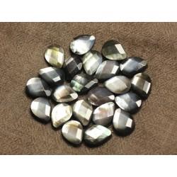 Fil 39cm 26pc env - Perles Nacre noire naturelle Gouttes facettées 14x10mm