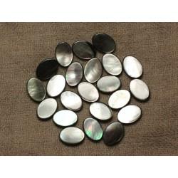 Fil 39cm 26pc env - Perles Nacre noire naturelle Ovales 14x10mm