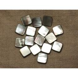 Fil 39cm 24pc env - Perles Nacre noire naturelle Losanges 14x12mm