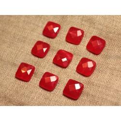Fil 39cm 27pc env - Perles de Pierre - Jade Carrés Facettés 14mm Rouge
