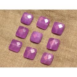 Fil 39cm 27pc env - Perles de Pierre - Jade Carrés Facettés 14mm Violet Rose