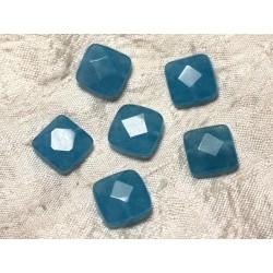 Fil 39cm 27pc env - Perles de Pierre - Jade Carrés Facettés 14mm Bleu