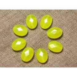 Fil 39cm 27pc env - Perles de Pierre - Jade Ovales Facettés 14x10mm Jaune Fluo