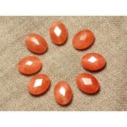 Fil 39cm 27pc env - Perles de Pierre - Jade Ovales Facettés 14x10mm Orange