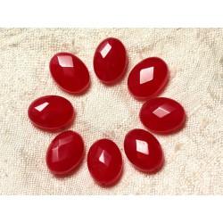 Fil 39cm 27pc env - Perles de Pierre - Jade Ovales Facettés 14x10mm Rouge