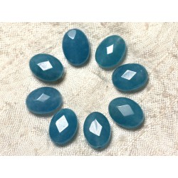 Fil 39cm 27pc env - Perles de Pierre - Jade Ovales Facettés 14x10mm Bleu